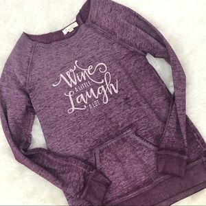 Zobha Wine Graphic Purple Sweatshirt Small Women